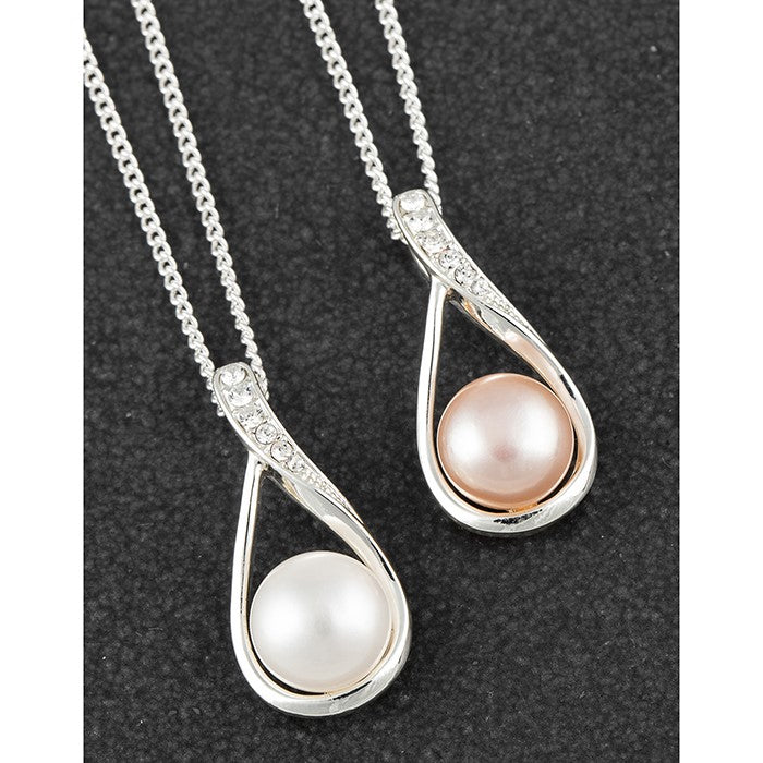 Freshwater Pearl Delicate Teardrop Silver Plated Necklace | Presentimes