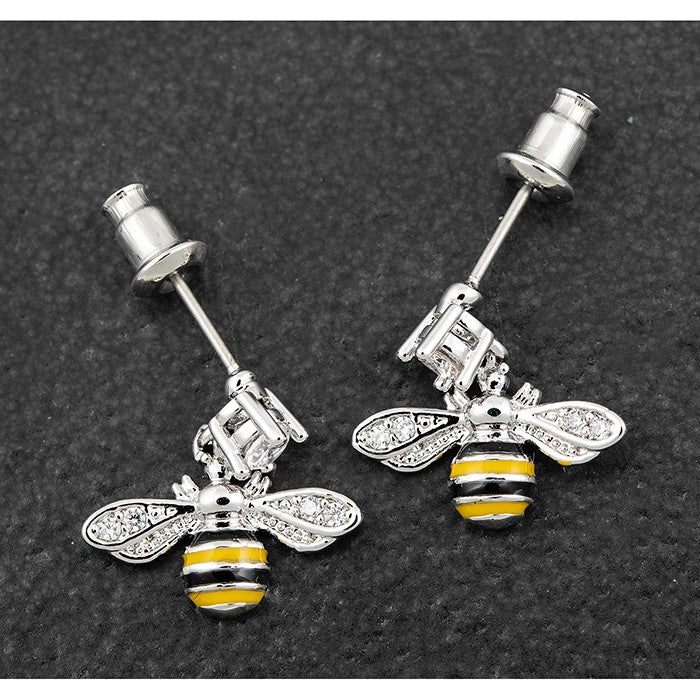 Handpainted Dangly Bee Platinum Plated Earrings | Presentimes