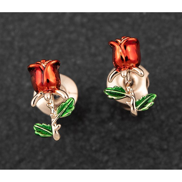Red Roses Crossing Rose Gold Plated Earrings | Presentimes