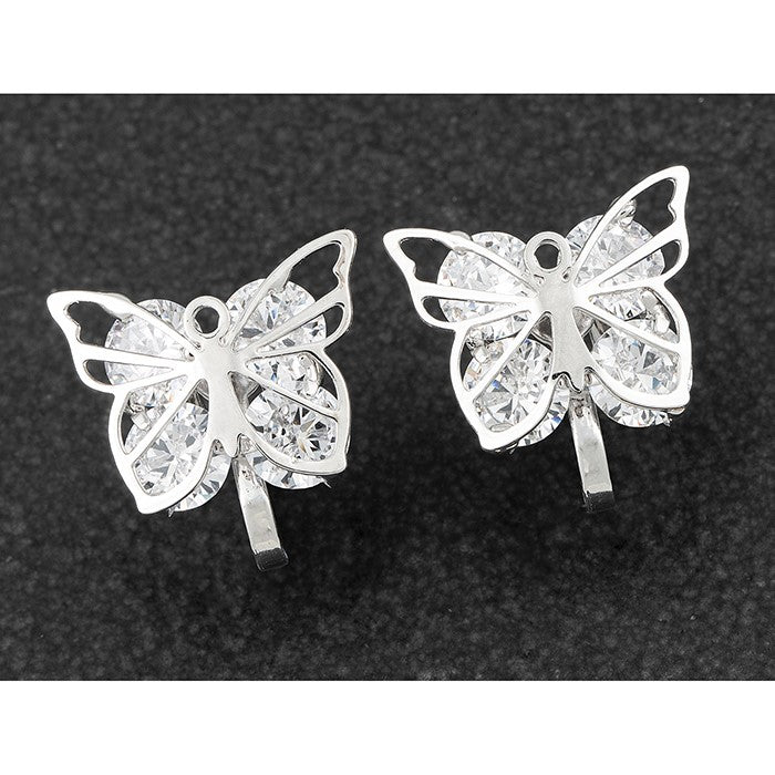 Crystal Butterfly Clip on Earrings | Presentimes
