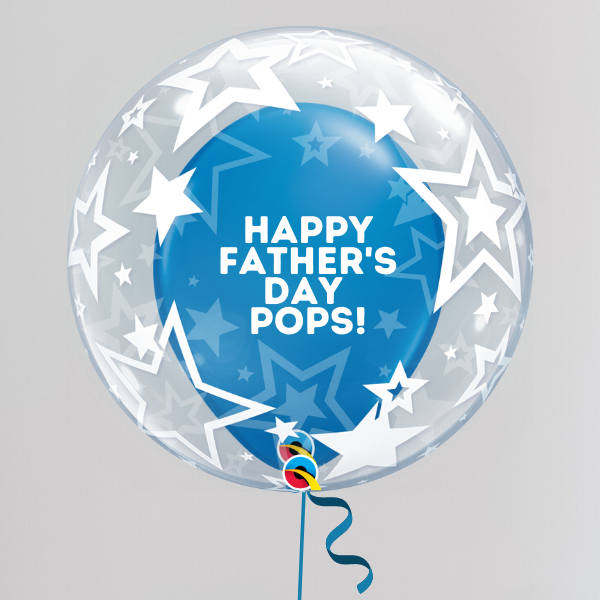 Pops Father's Day Deco Bubble Balloon (Inflated with Helium & Weight Included) | Presentimes