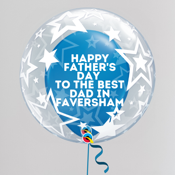 Best Dad in Faversham Father's Day Deco Bubble Balloon (Inflated with Helium & Weight Included) | Presentimes