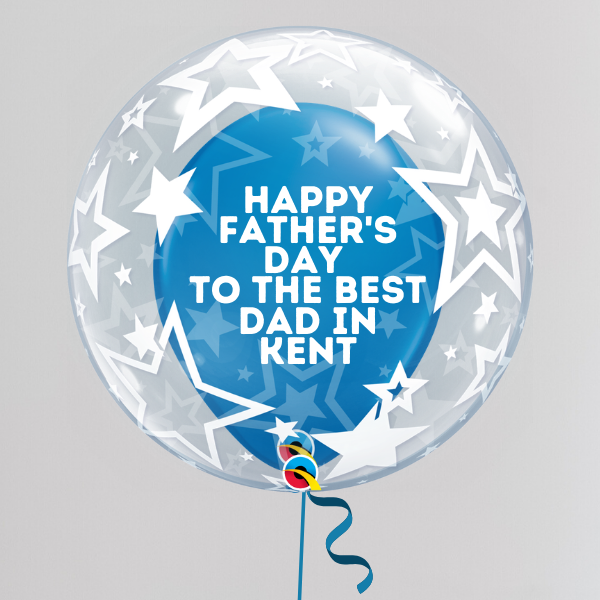 Best Dad in Kent Father's Day Deco Bubble Balloon (Inflated with Helium & Weight Included) | Presentimes