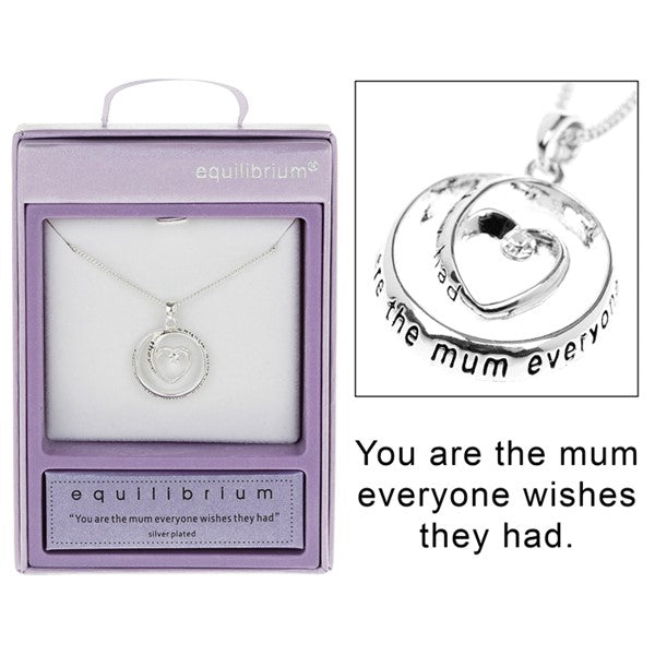 Equilibrium Silver Plated Heart Circle Necklace Mum | Presentimes