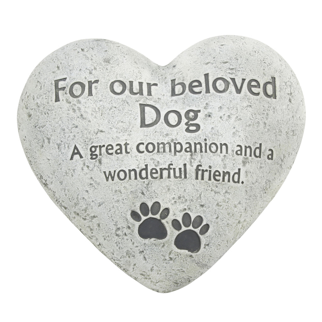 "Graveside Memorial Heart Plaque Ant.Stone ""Beloved Dog"" 