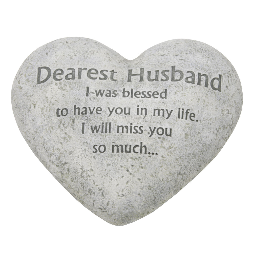 "Graveside Memorial Heart Plaque Ant.Stone ""Dearest Husband"" 
