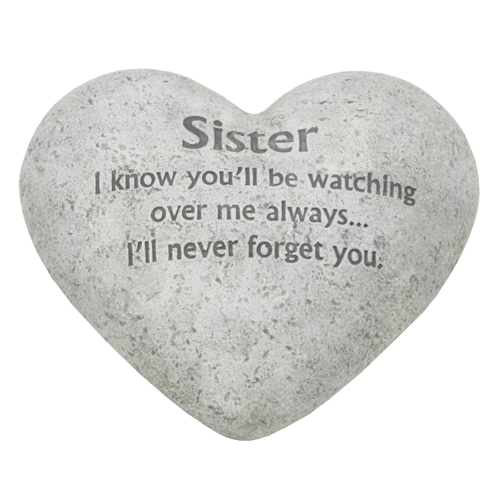 "Graveside Memorial Heart Plaque Ant.Stone ""Sister"" 