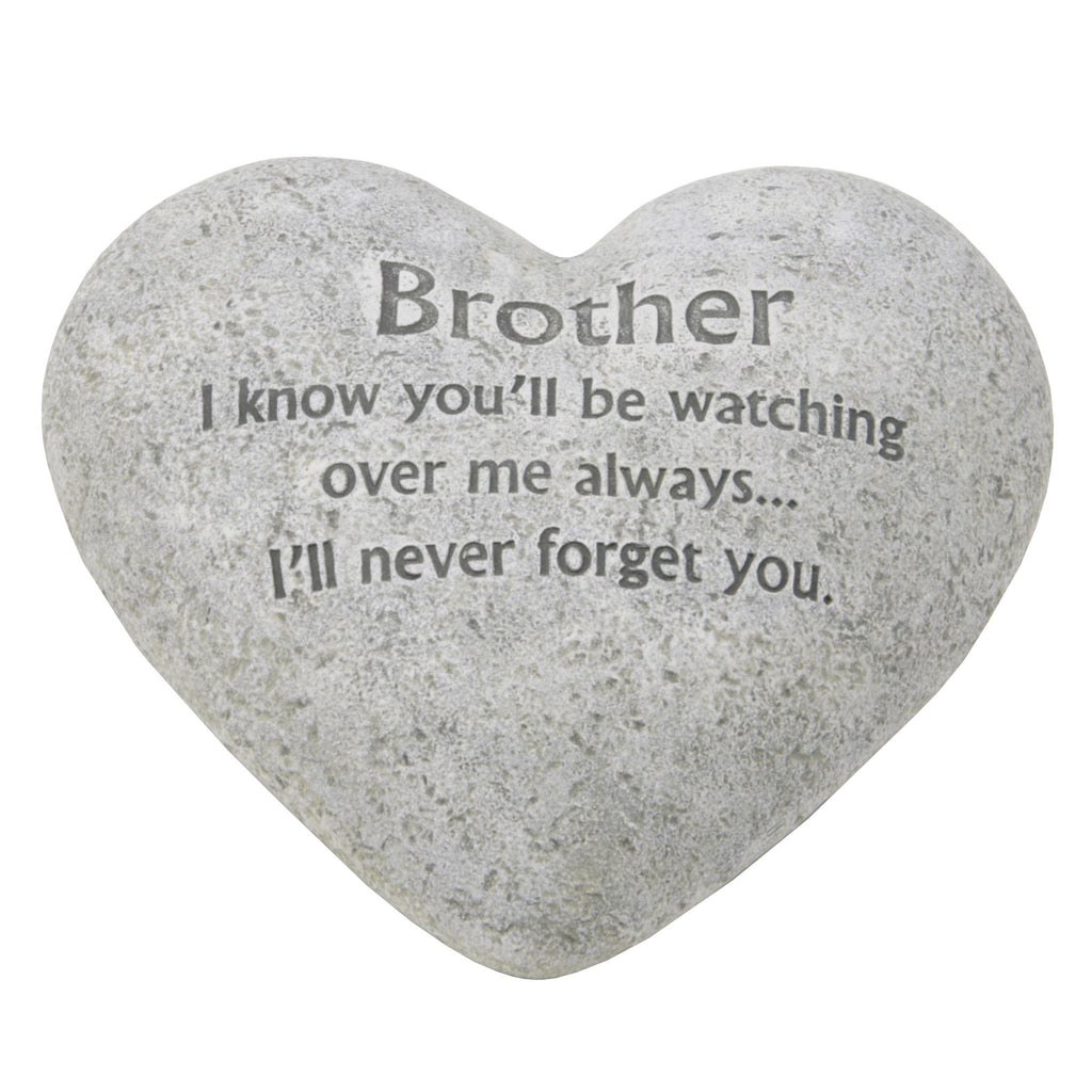 "Graveside Memorial Heart Plaque Ant.Stone ""Brother"" 