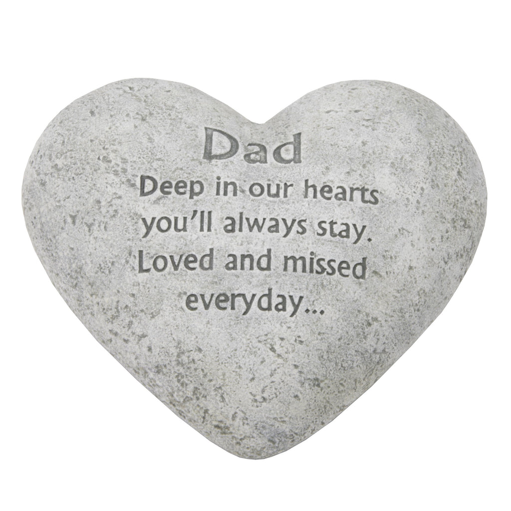 "Graveside Memorial Heart Plaque Ant.Stone ""Dad"" 