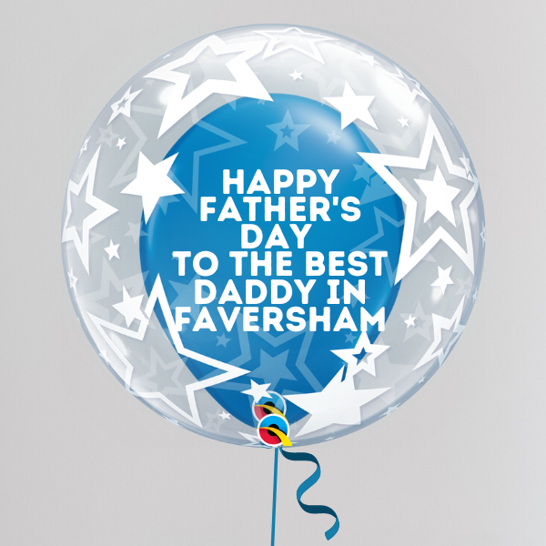 Best Daddy in Faversham Father's Day Deco Bubble Balloon (Inflated with Helium & Weight Included) | Presentimes
