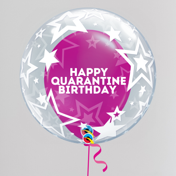Happy Quarantine Birthday Pink Bubble Balloon (Inflated with Helium & Weight Included) | Presentimes