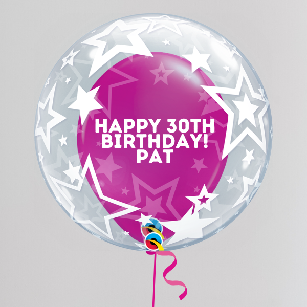 Aged Happy Birthday Bubble Balloon (Inflated with Helium & Weight Included) | Presentimes