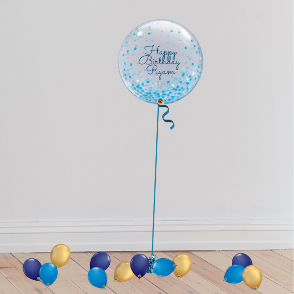Personalisable Confetti Bubble Balloon (Inflated with Helium & Weight Included) | Presentimes
