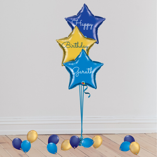 3 Blue Foil Trio Balloons (Inflated with Helium & Weight Included) | Presentimes