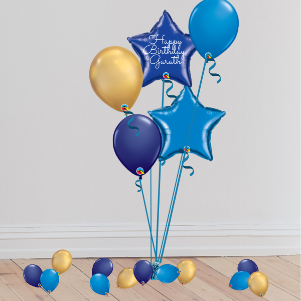 Classic Blue Balloon Bouquet (Inflated with Helium & Weight Included) | Presentimes