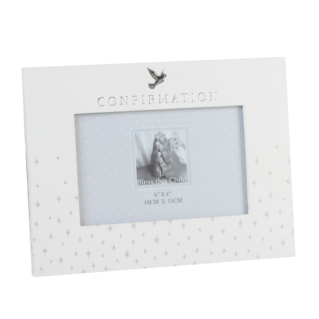 "Bless This Child' Frame Silver Dove Confirmation"" 6"" x 4"" 