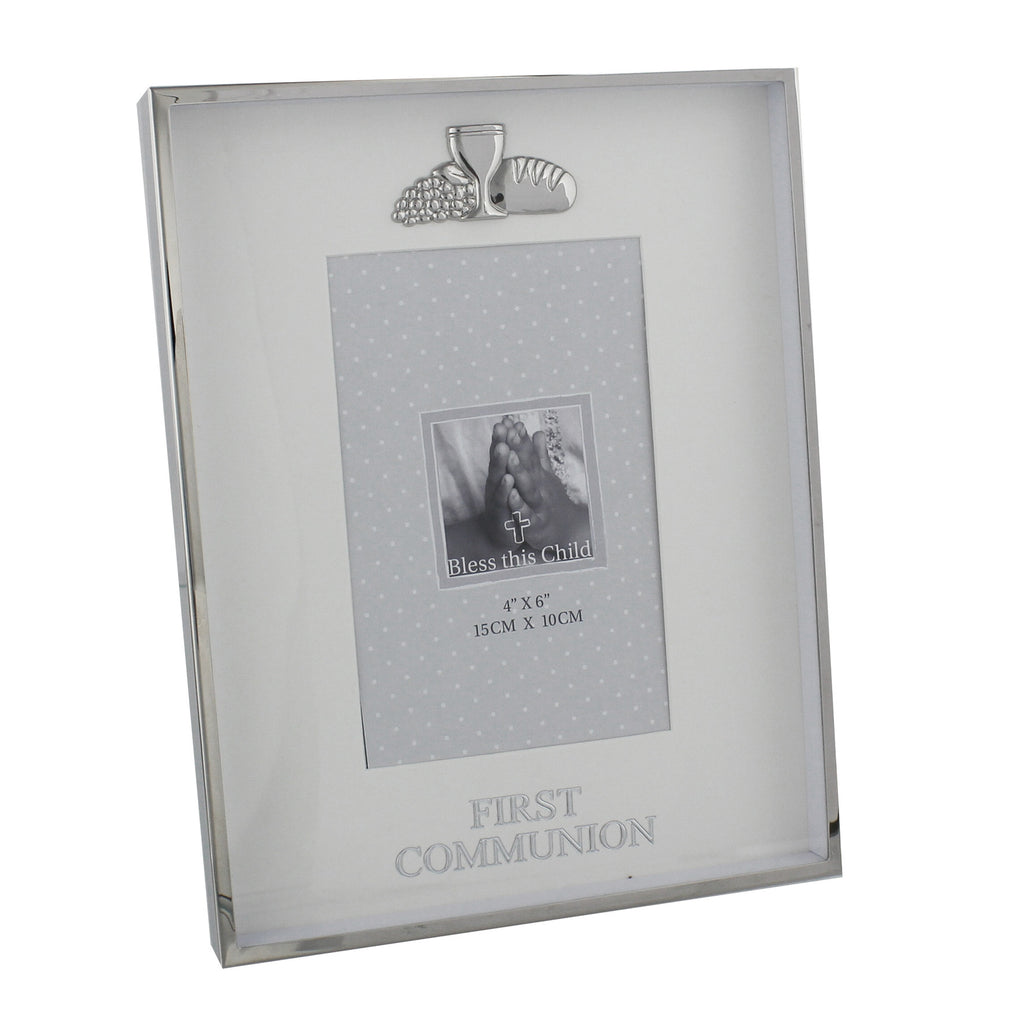 "Juliana Nickel Plated Photo Frame 4"" x 6"" Communion 