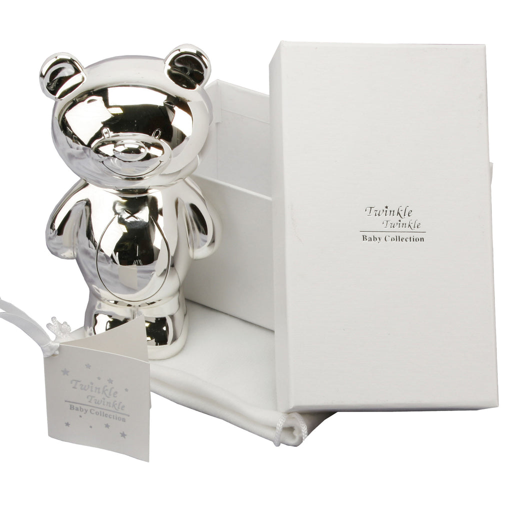 Twinkle Twinkle S/P Baby Gift - Teddy Money Box G/Box & Bag | Presentimes