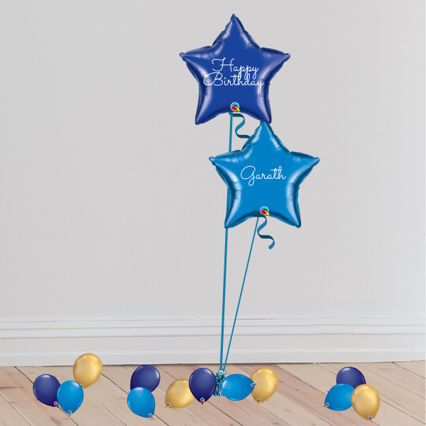 2 Blue Foil Duo Balloons (Inflated with Helium & Weight Included) | Presentimes