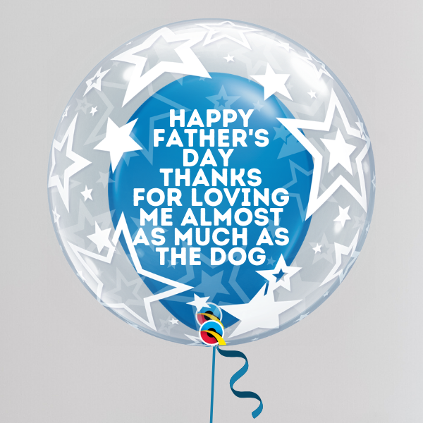 Love the Dog(s) More Father's Day Deco Bubble Balloon (Inflated with Helium & Weight Included) | Presentimes