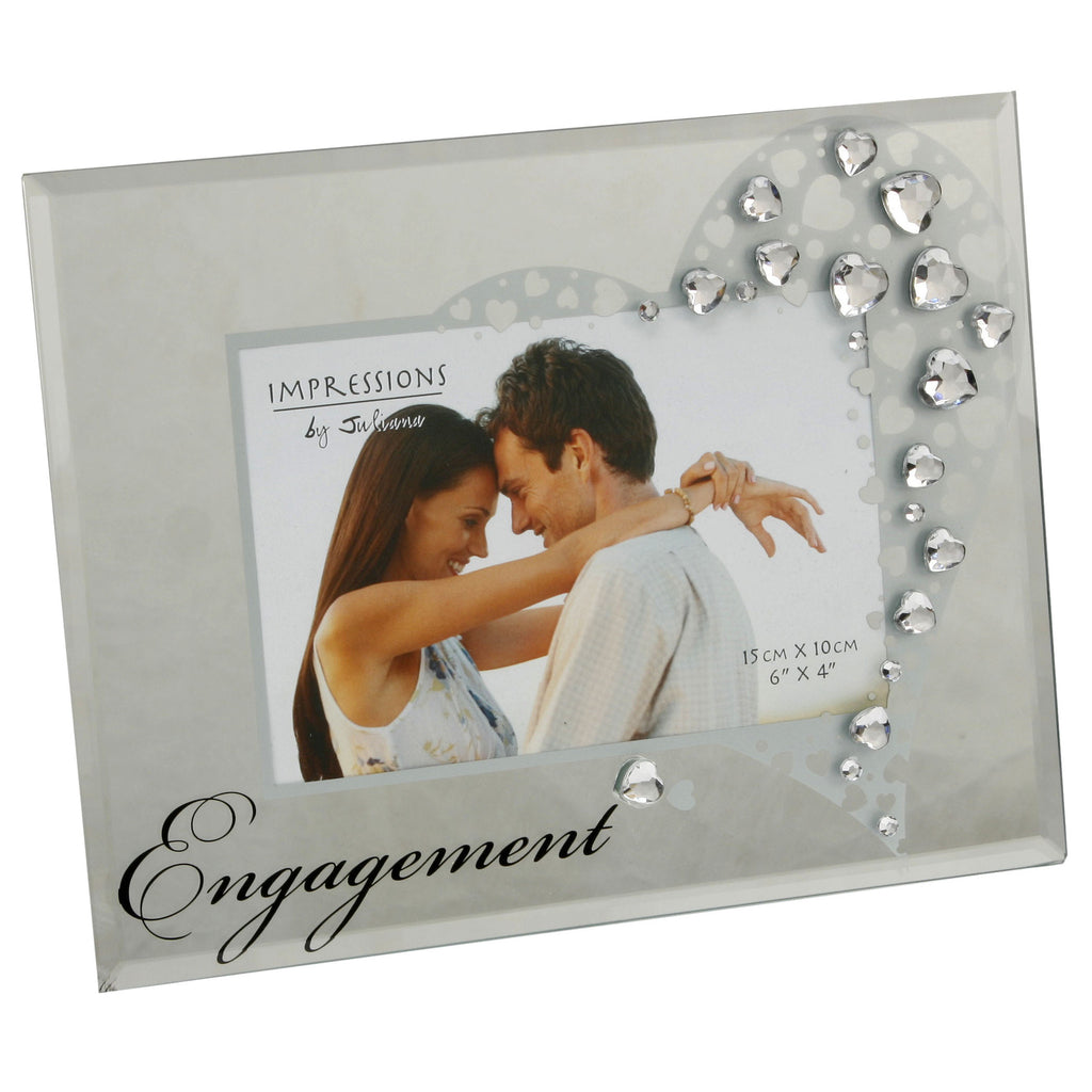 "Impressions Glass Photo Frame with Crystals Engagement 6""x4"" 