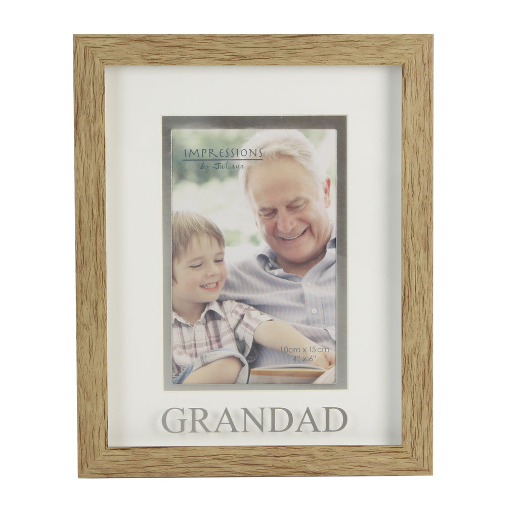 "Juliana Natural Wood Effect Plastic Frame - 6"" x 4"" Grandad 