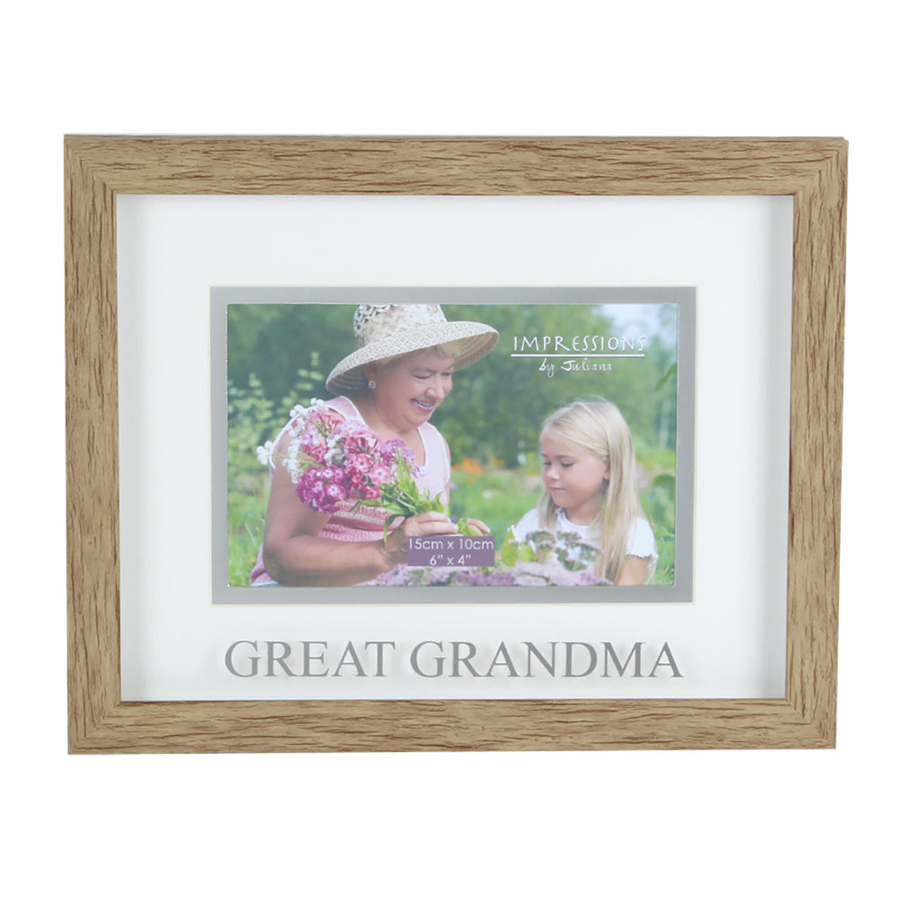 "Juliana Natural Wood Effect Plastic Frame 6""x 4"" Great Grandma 