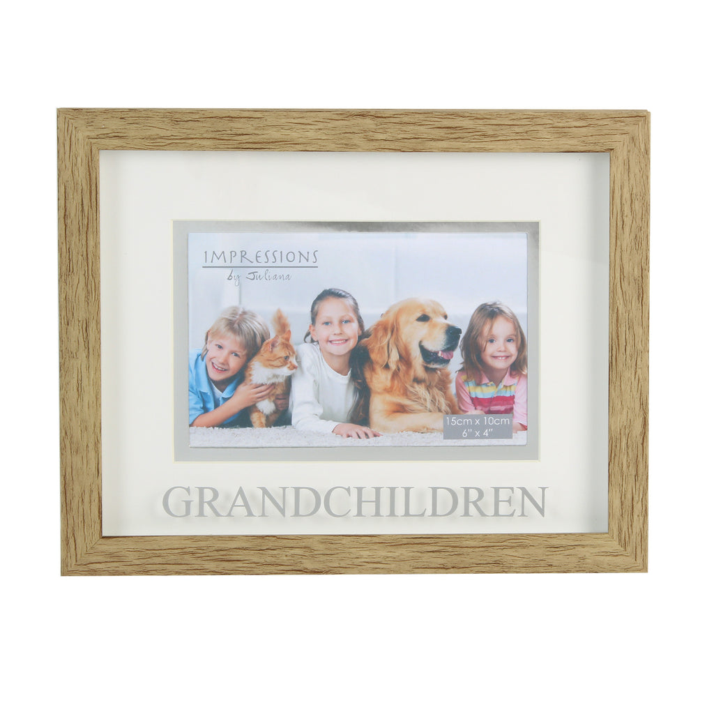 "Juliana Natural Wood Effect Plastic Frame 6""x  4"" Grandchildren 