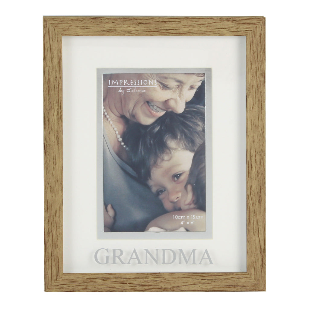 "Juliana Natural Wood Effect Plastic Frame - 6"" x 4"" Grandma 