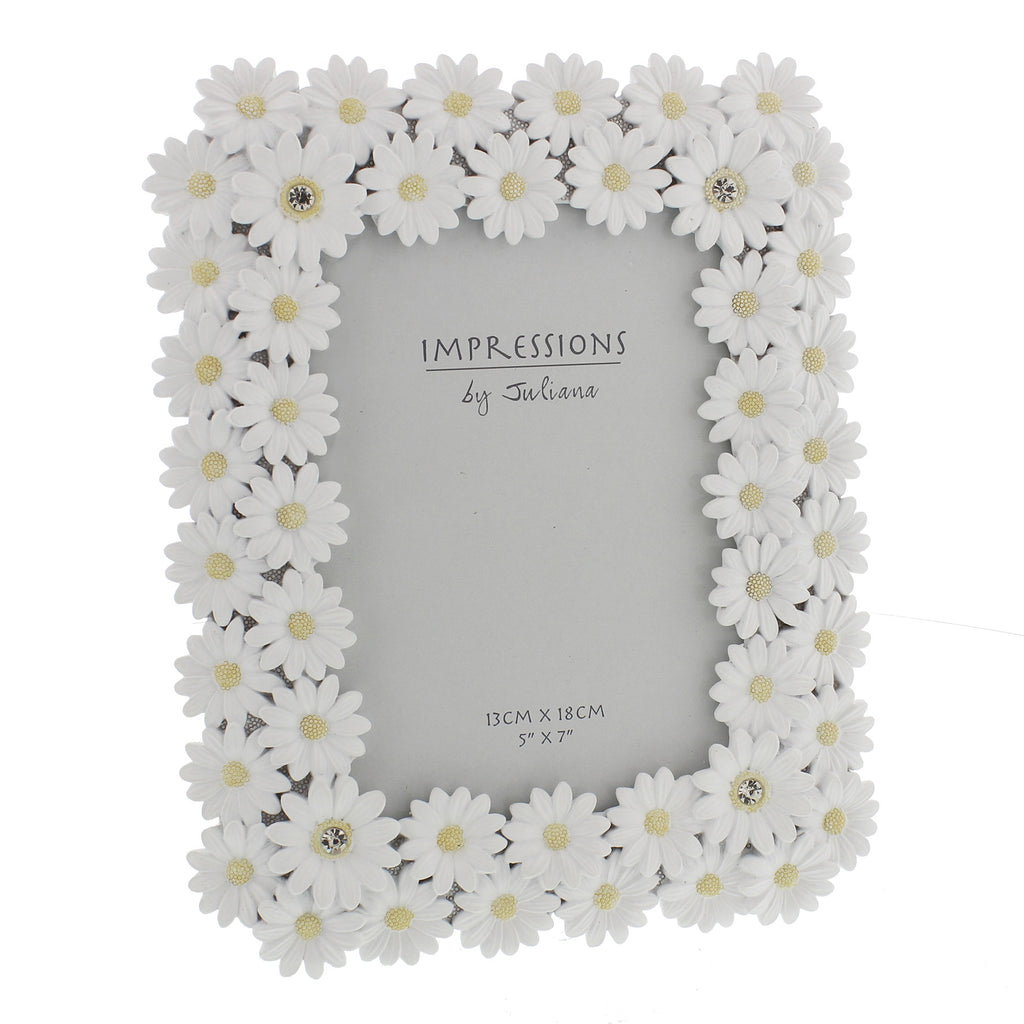"Impressions White Resin Daisy Photo Frame 5"" x 7"" 