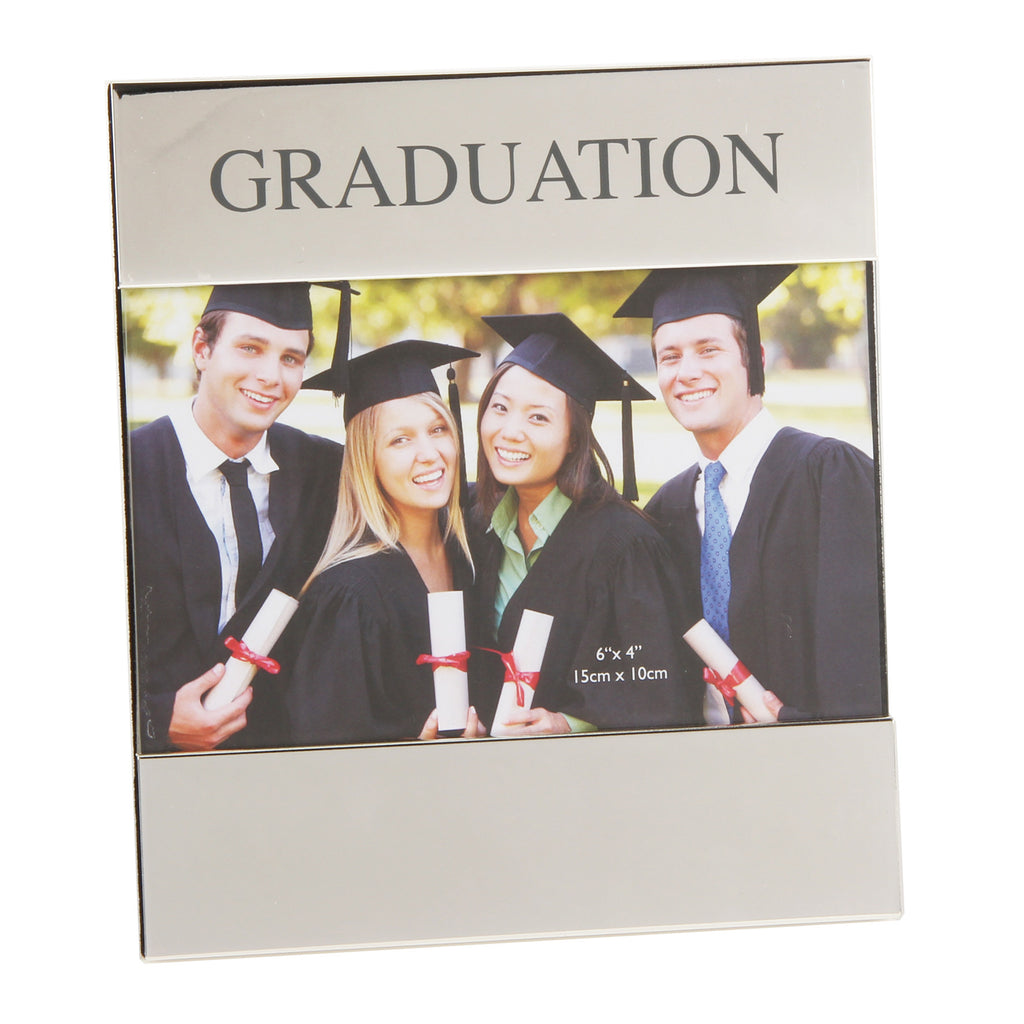 "Shiny Silverplated Frame - Graduation 6"" x 4"" 