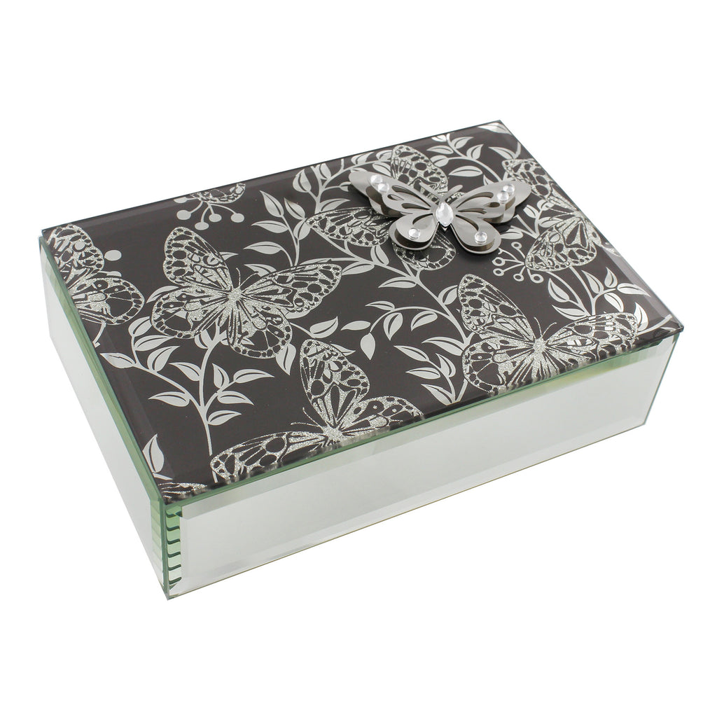 Hestia Butterfly Collection Smoked Grey Oblong Jewellery Box | Presentimes