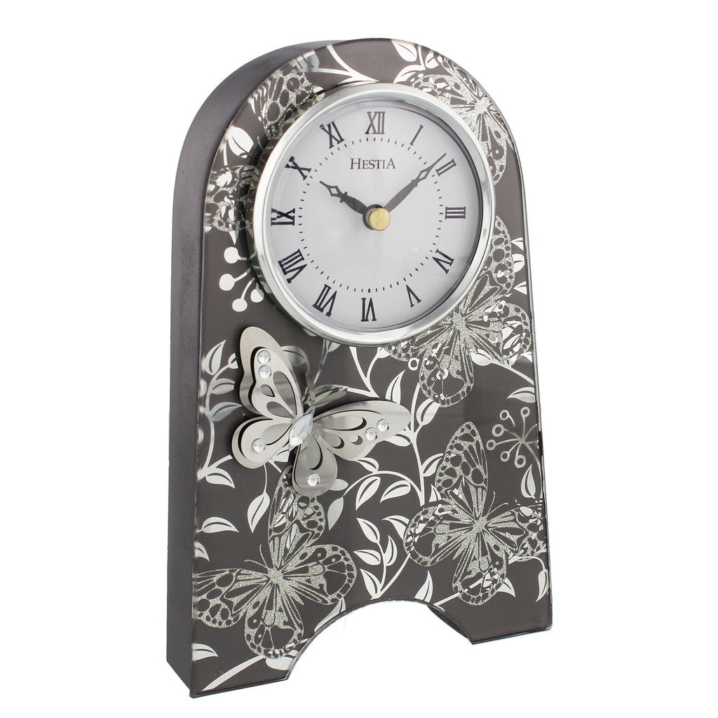 Hestia Butterfly Collection Smoked Grey Clock | Presentimes