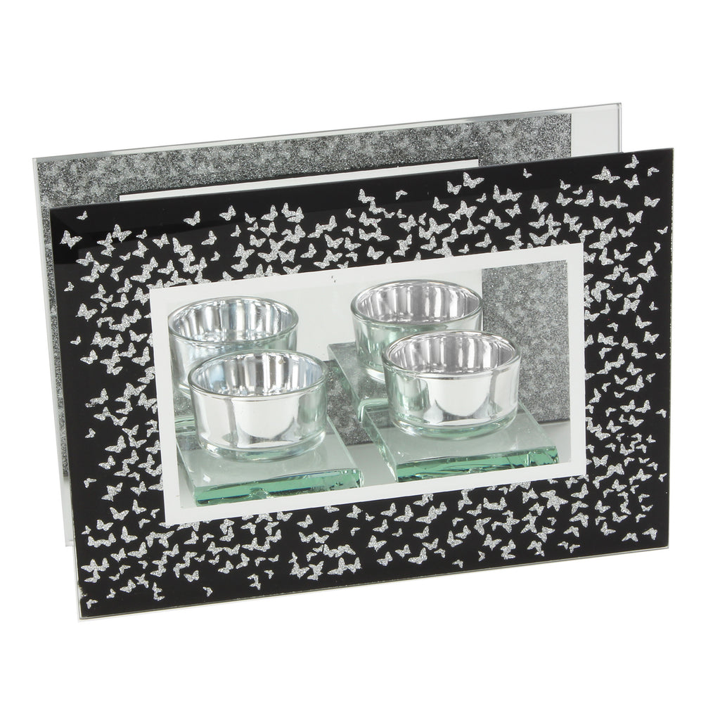 Hestia Glass Double T Lite Black with Silver Butterflies | Presentimes
