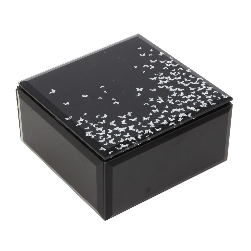 Hestia Glass Square Jewellery Box Black/Silver Butterflies | Presentimes