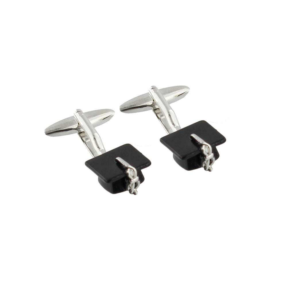 Pair of Graduation Mortar Hat Cufflinks Gift Boxed | Presentimes