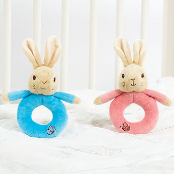 Peter & Flopsy Plush Ring Rattle Asst | Presentimes