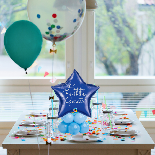 "18"" Blue Table Top Personalised Topper Balloon 