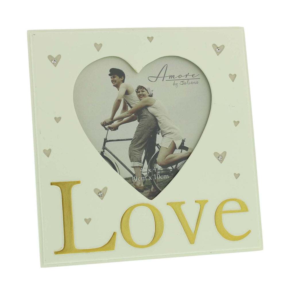 "Amore Resin Heart Shape Photo Frame - Love 4"" x 4"" 