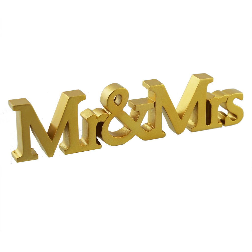 Amore Resin Gold Mantel Plaque - Mr & Mrs 20cm | Presentimes