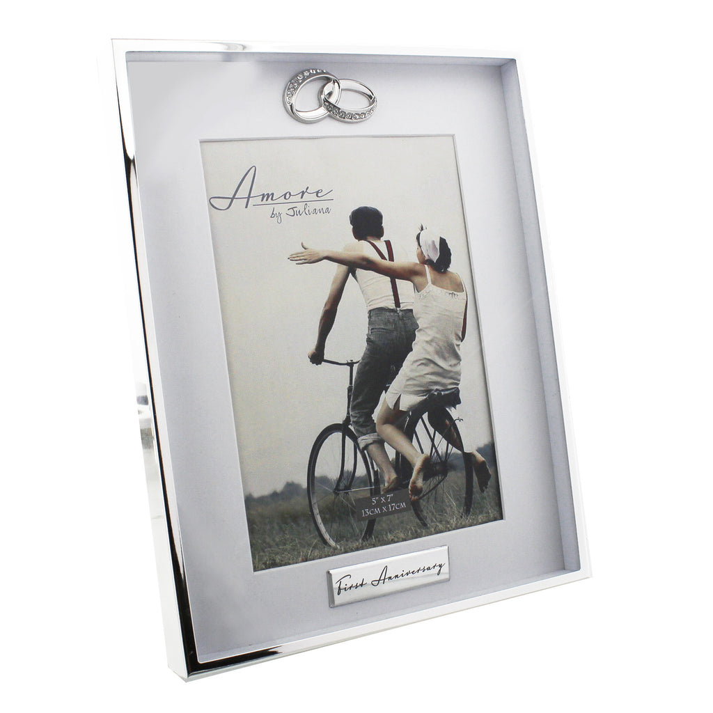 "Amore Silverplated Frame Ring Icon - 1st Anniversary 5"" x 7"" 