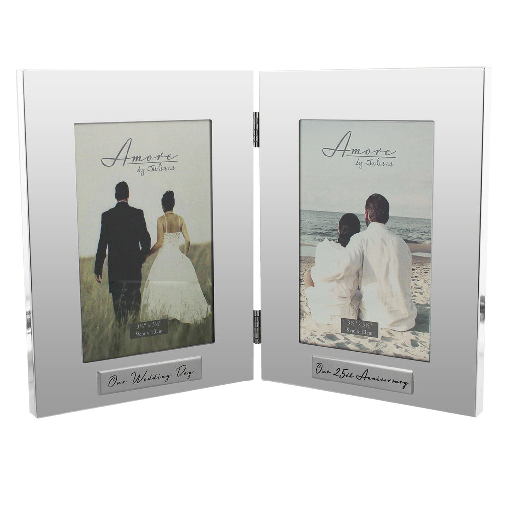"Amore Shiny Silverplated Double Frame 4""x6"" 25th Anniversary 