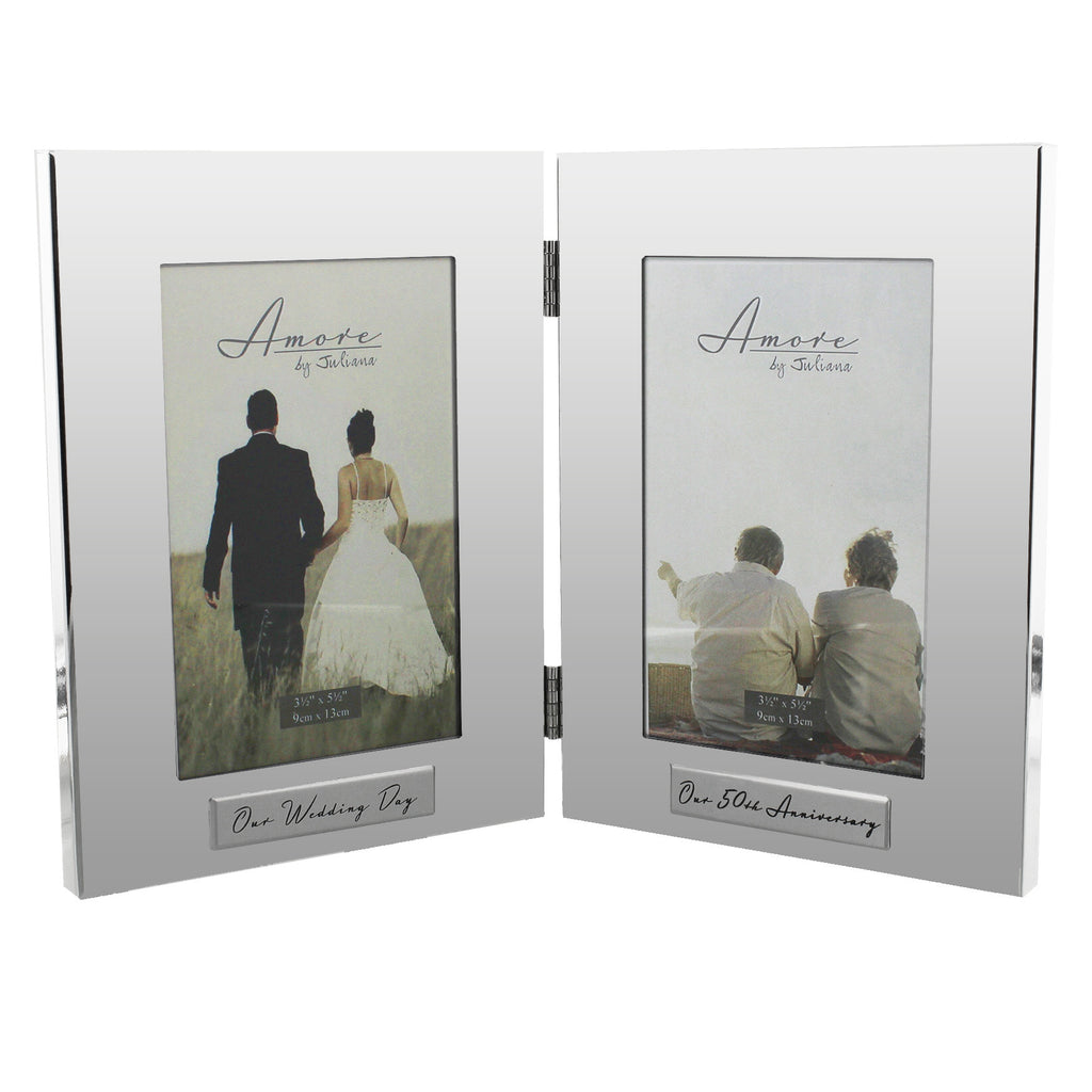 "Amore Shiny Silverplated Double Frame 4""x6"" 50th Anniversary 
