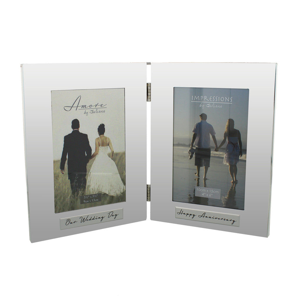 Amore Shiny Silverplated Double Frame 4x6 Happy Anniversary | Presentimes
