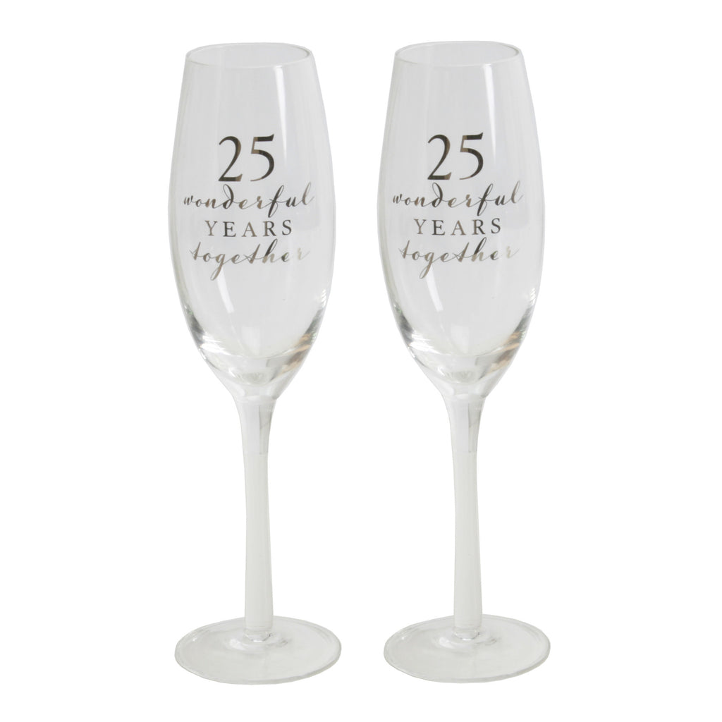 Amore Champagne Flutes Set of 2 - 25th Anniversary | Presentimes