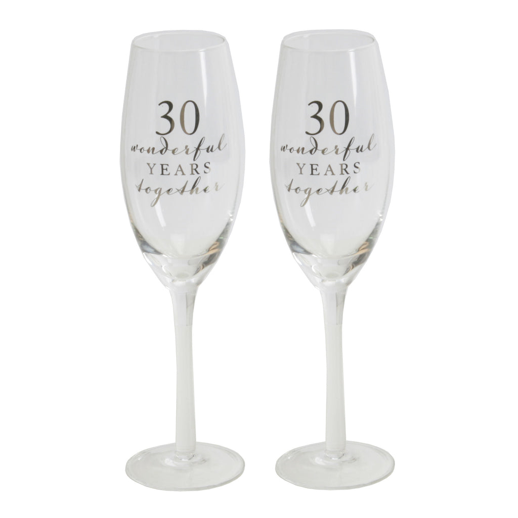 Amore Champagne Flutes Set of 2 - 30th Anniversary | Presentimes