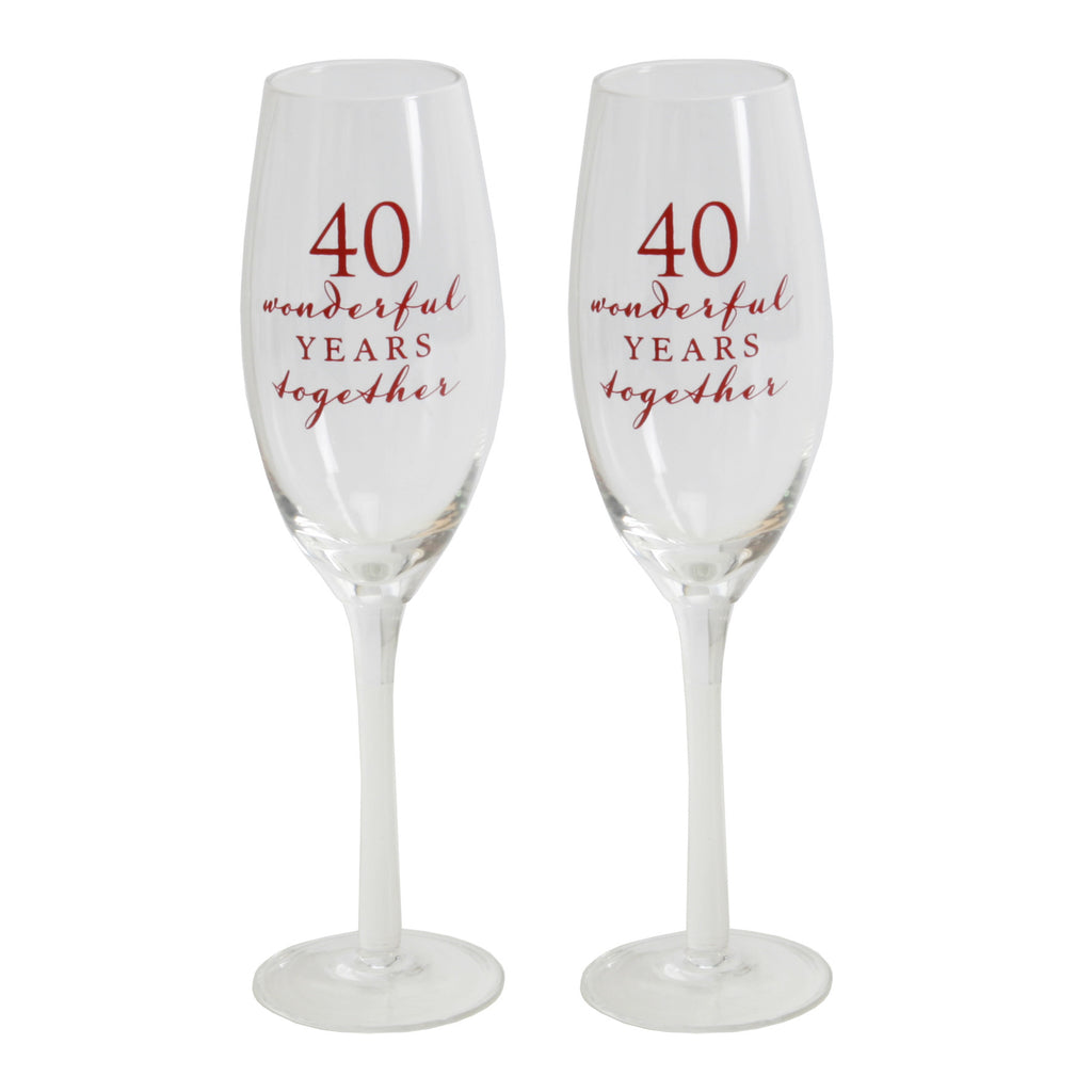 Amore Champagne Flutes Set of 2 - 40th Anniversary | Presentimes