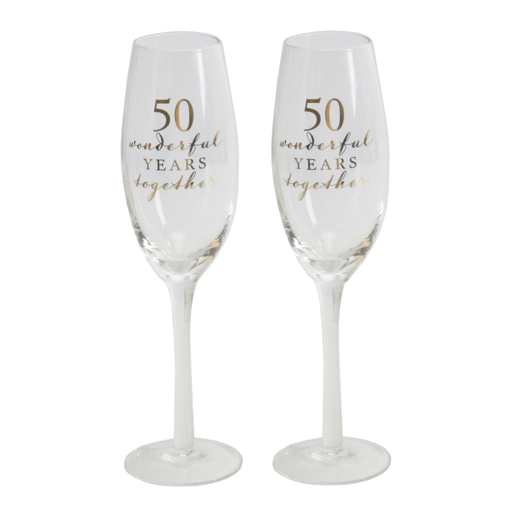 Amore Champagne Flutes Set of 2 - 50th Anniversary | Presentimes