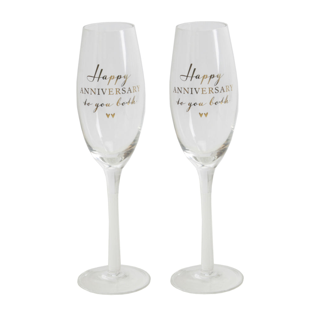 Amore Champagne Flutes Set of 2 - Happy Anniversary | Presentimes