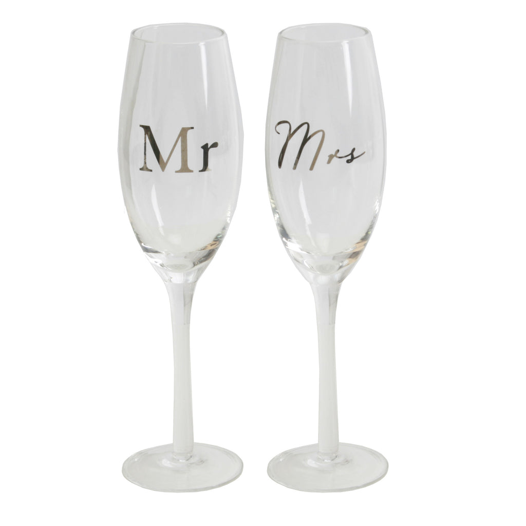 Amore Champagne Flutes Set of 2 - Mr & Mrs | Presentimes